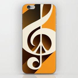 Retro Shadow Music & Peace, Orange iPhone Skin