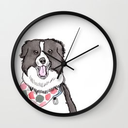 Border Collie with Bandana Wall Clock