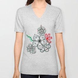 31. Elegant Japanese Henna Flower Unisex V-Neck