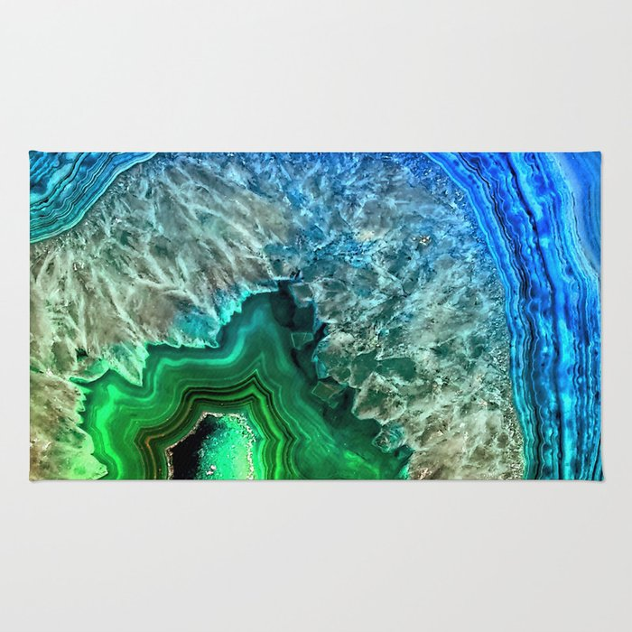 Turquoise Green Agate Mineral Gemstone Rug