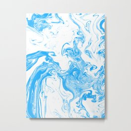 Suminagashi blue and white 4 marble spilled ink ocean swirl watercolor painting Metal Print