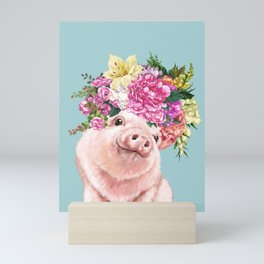 Flower Crown Baby Pig in Blue Mini Art Print
