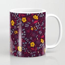 Mustard Yellow, Burgundy & Blue Floral Pattern Coffee Mug