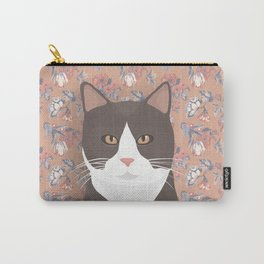 Gray Tuxedo Cat and Flowers Carry-All Pouch