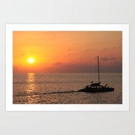 Spectacular sunset at Rick's Cafe, Negril, Jamaica Art Print