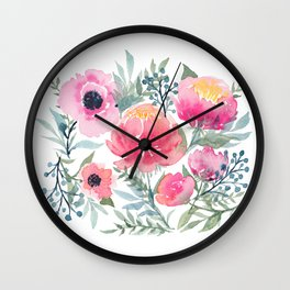 Peony and Poppy Flower Bouquet Wall Clock