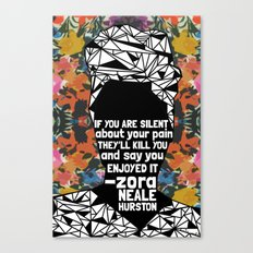 ZNH - If You Are Silent - Black Lives Matter - Series - Black Voices - Floral  Canvas Print
