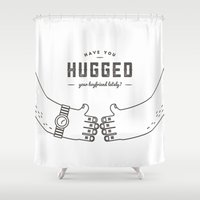 hug Shower Curtains featuring Hug by Huilin Dai
