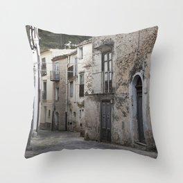 Sicilian Alley in Caltabellotta Throw Pillow