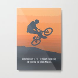 Bmx Rider Motivational Wall Art Decor Push Yourself To The Limits And Experience The Wonders You Metal Print