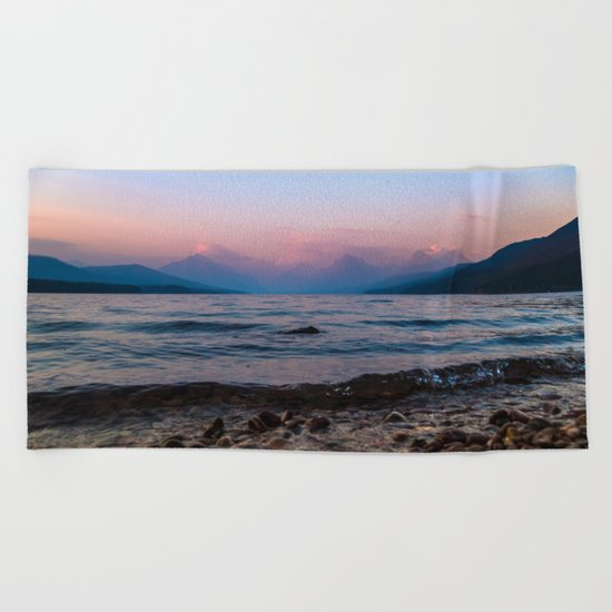 Lake At Dusk Beach Towel