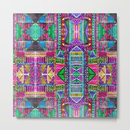 Tribal Patchwork Pink Metal Print