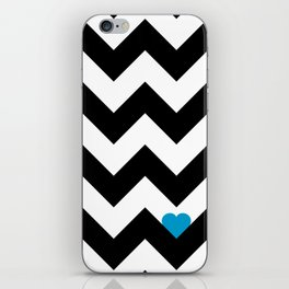 Heart & Chevron - Black/Blue iPhone Skin