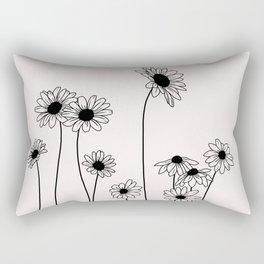 Daisy flowers illustration - Natural Rectangular Pillow
