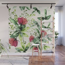 Fashion textile floral vector pattern with rustic clover flowers Wall Mural