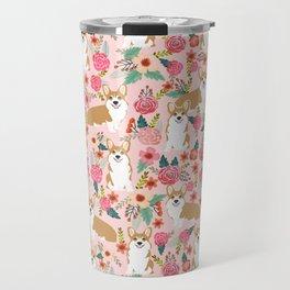 Corgi Florals - vintage corgi and florals gift gifts for dog lovers, corgi clothing, corgi decor, Travel Mug