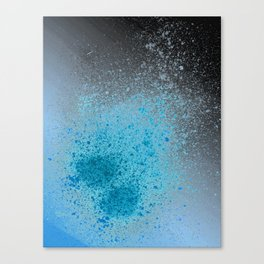 Blue and Black Spray Paint Splatter Canvas Print