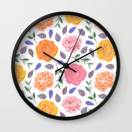 Modern pink yellow orange watercolor leaves floral Wall Clock