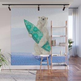 Polar bear & Surf (green) Wall Mural