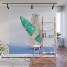 Polar bear & Surf (green) Wall Mural