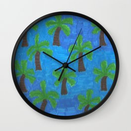 Palm Trees in the Ocean Wall Clock