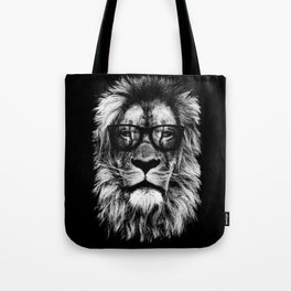 Hipster Lion Black Tote Bag