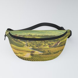 Langhe vineyards panorama, Grinzane Cavour, Italy Fanny Pack