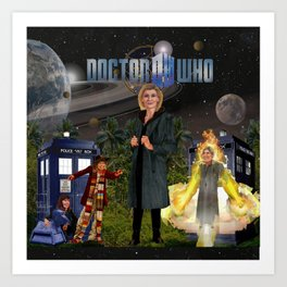 1th Doctor, 4th Doctor, Sarah Jane, K-9 Art Print