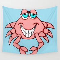 crab Wall Tapestries featuring Cheerful Crab by J&C Creations