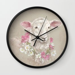 Sheep With Floral Wreath by Debi Coules Wall Clock