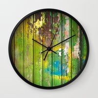 1d Wall Clocks featuring Wood Texture 1D by Robin Curtiss