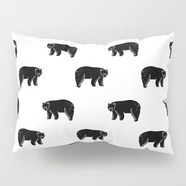Linocut minimal black and white bear forest camping pattern nature art Pillow Sham
