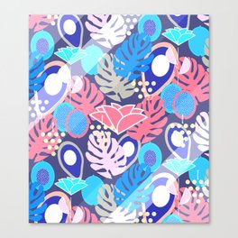Tropical in blue light Canvas Print