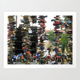 Lovers padlocks in Prague Art Print