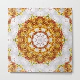 Gold Chrysanthemum Kaleidoscope Art 5 Metal Print