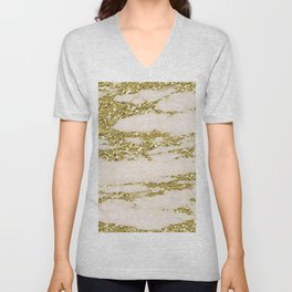 Marble - Gold Marble Glittery Light Pink and Yellow Gold Unisex V-Neck