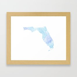 Typographic Florida - blue watercolor Framed Art Print
