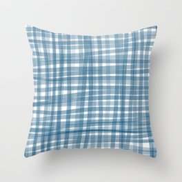 Baby blue watercolor gingham Throw Pillow