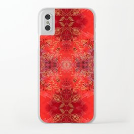 Pattern Gold on Red Clear iPhone Case