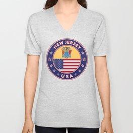 New Jersey, USA States, New Jersey t-shirt, New Jersey sticker, circle Unisex V-Neck