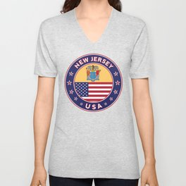 New Jersey, USA States, New Jersey t-shirt, New Jersey sticker, circle Unisex V-Neck