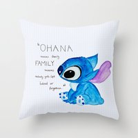ohana Throw Pillows featuring Ohana by nafrodrigues