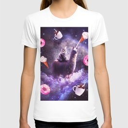 Outer Space Cat Riding Llama Unicorn - Donut T-shirt