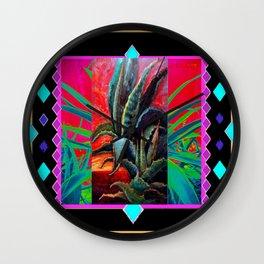 BLACK WESTERN TURQUOISE MODERN ART DESERT AGAVE CACTUS Wall Clock