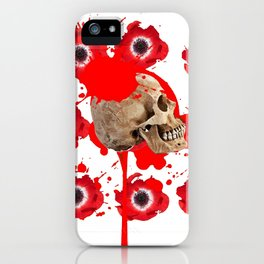 BLACK BLOODY RED EXPLODING BLOOD POPPIES SKULL ART iPhone Case
