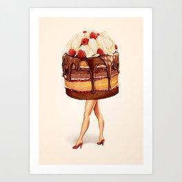Cake Girl - Chocolate Raspberry Art Print
