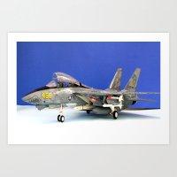 airplane Art Prints featuring airplane by Bitifoto