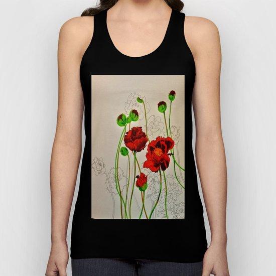 Very Red Flowers Unisex Tank Top