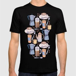 Coffee Love on Blue T-shirt