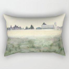 Flintville Mist // Watercolor Landscape Painting // Rural Farm Rectangular Pillow
